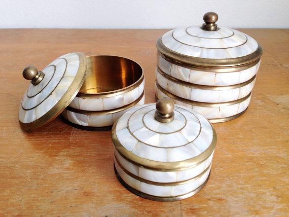 Pearl and Brass Knick Knack Storage // $70.00