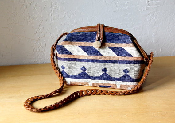 Vintage Tapestry Bag with Leather Strap // $41