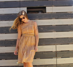 Tory Burch dress from Tandem Vintage. Sunglasses from Free People.