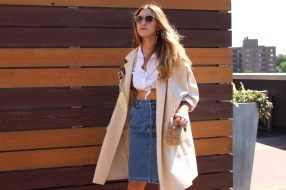 80s Jacket from Moth Oddities. Purse from Rewind Vintage. 80s denim skirt from Tandem Vintage.